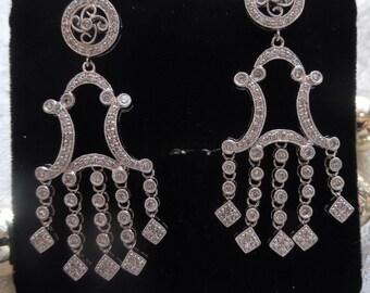 Art Deco Style Platinum and Diamond Chandelier Earrings