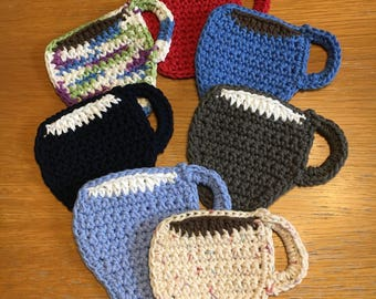 100% cotton colorful crocheted drink coasters