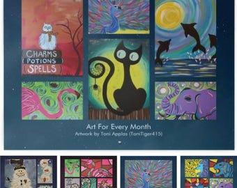 2018 Wall Calendar, 2018 Art Wall Calendar, Fine Art Calendar, Monthly Art, Paintings Calendar, Snowmen Calendar, Original Art Calendar