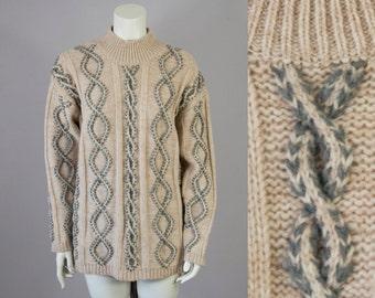 90s Vintage Mock Turtleneck Oversized Cable Knit Wool Sweater (M, L)