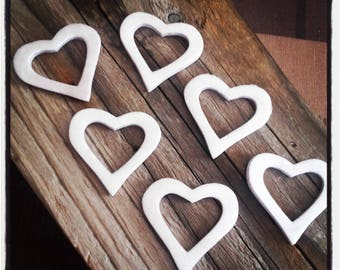 set of 6 hearts foam compressed in shades of grey - 6 cut in the Center