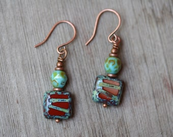 Rustic Red Earrings, Czech Glass Earrings, Turquoise and Red, Red Jewelry, Boho Earrings, Southwestern Earrings