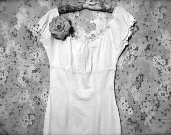 Robe de mariée Vintage plage - dentelle Ivoire courte taille 4 s