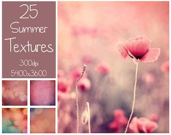 25 Summer Textures - Photoshop Overlays - Bokeh Textures - Fine Art Textures - Digital Background - Photography Overlay - Summer Overlays