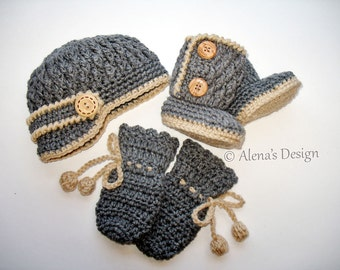 Crochet PATTERN Set - Crochet Patterns - Two-Button Baby Booties, Baby Visor Hat, Baby Mittens - Newborn Baby Boy Baby Girl Hat Booties