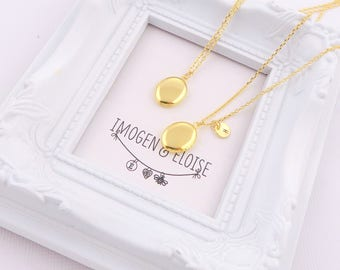 Gold Oval Locket, Personalized Locket, Custom Locket, Initial Oval Locket, Personalised Oval Locket, Gold Locket