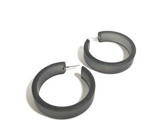 Charcoal Grey Hoop Earrings   Vintage Lucite Frosted Large Portland Hoops