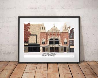 Hackney Empire Cinema Print / Hackney Landmarks / Hackney Art Print / London Art Print / Architecture Print / London Landmark