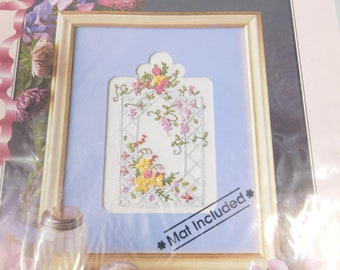 Wisteria Trellis Ribbon Embroidery Kit, Flower Picture Kit, True Colors, Mat Mates collection