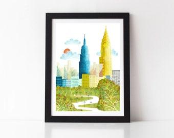 New York Print, New York Skyline, New York Gifts, New York Watercolor, Cityscape Art, Watercolor Skyline, New York Art, New York City