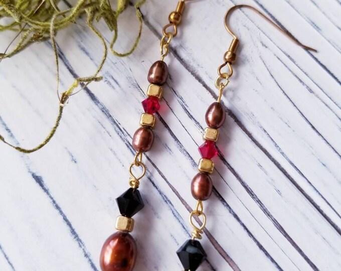 Dangle boho beaded earrings, Earthy Brown Long Earrings, long Freshwater Pearl Earrings, long dangle brown Pearl Earrings