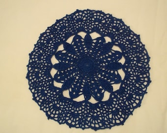 Blue Handcrocheted Doily