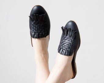 Black slip on for women woven style leather handmade