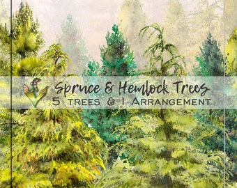 Handpainted clipart, Watercolor clipart, tree clipart png, forest clipart, clipart tree, woodland clipart, pine tree clipart, Tree clipart