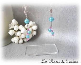 Earrings turquoise and fuchsia dangle earrings