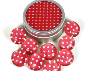 Glass Push Pins Red and White Thumb Tacks Cork Board Pins in Cherry Polka Dots  with Gift Tin (PT93)