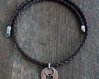 Mens Leather Necklace, Copper Silver Pendant Brown Braid