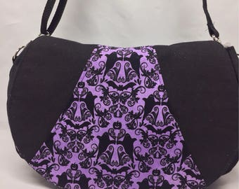 Halloween Black and Purple Ghosts and Bats  Haunted Mansion Cross Body Bag Rosie by Swoon