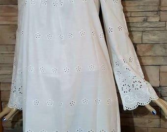 Victorian costume accessories/Victorian style Heirloom night gown/Victorian undergarment/long Victorian blouse/eyelet cotton undergarment