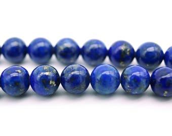 Round Lapislazuli Real Gemstone Beads 6mm - 10 beads or 1x 16'' strand (approx. 70 beads)