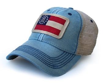 Georgia Flag Patch Trucker Hat, Americana Blue