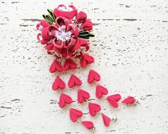 Plum Blossom Fabric Flower Bouquet Kanzashi Hair Clip, Japanese Hair Clip, Lolita Accessory, Yukata Hair Clip, Lolita Accessory - Red