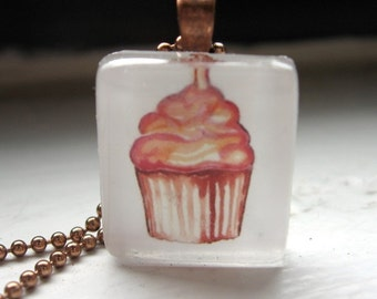 Pink Cupcake Necklace Watercolor Art Pendant Necklace 2