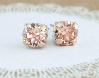 Petite crystal earrings,small crystal earrings,6mm crystal earrings,rose gold earrings,peach crystal stud earrings,peach gold earrings,peach