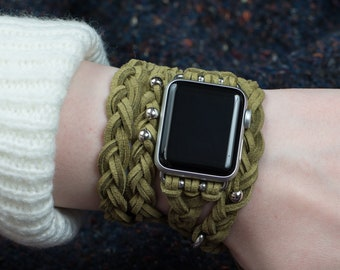 Green Apple Watch band 38mm 42mm, brown leather women Apple Watch Band, Apple Watch braided, Gopher