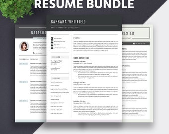 All-in-one Resume Templates Bundle, Cover Letter, Super Easy to Edit, Fully Compatible with MS Office for Mac PC, Instant Download, BarbaraB
