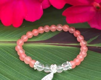 """Bracelet """"higher consciousness"""" (Cherry quartz, clear quartz)"""