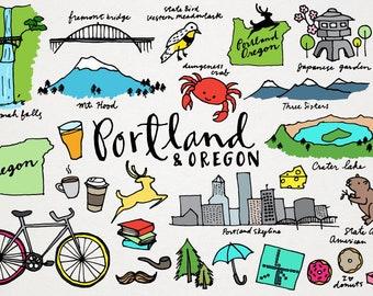 Portland & Oregon Clipart - City Clip Art, US state clipart, hand drawn clipart, Oregon landmarks, Portland skyline, Commercial use clipart
