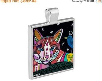 SALE ENDING- Cat Folk Art Jewelry - Pendant Metal  Gift Art Heather Galler Gift-  Cat Lovers Abstract Modern Vegan Gifts