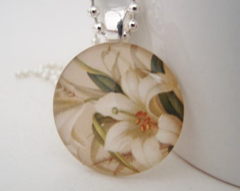 Lily Glass Tile Pendant with Free Necklace