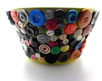 Mosaic flower pot in stoneware, Vintage buttons