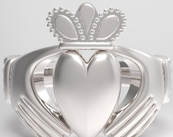 Chunky silver Claddagh Ring