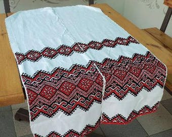 Ukrainian traditional embroidered towel. Cross-stitch. Ukrainian ornament. Linen.