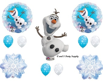 NEW!!!!  OLAF & SNOWFLAKES Frozen Happy Birthday Party Balloons Decorations Supplies Snow