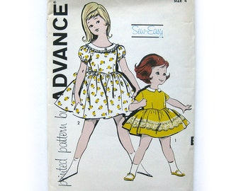 Girls' Party Dress Pattern / Button-Back Dress with Full Skirt and Sash Belt / 1960 UNCUT Vintage Sewing Pattern / Advance 9812 / Size 4