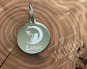 Cat ID Tag, Cat and Moon Pet Identification, Silver Stainless Steel Pet Tag, Personalized Cat Tag, Kitten Tag
