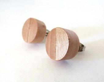 Rose gold post earrings, wood stud earrings, button studs, simple earrings