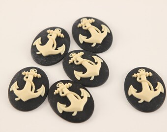 Anchor Cabochons - set of 6 - unset - 40/30 - Black and White Nautical Beach Boat cameo