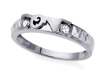 Men 14K White Gold CZ LOVE Wedding Band Ring / Free Gift Box(ATR233WW)