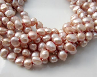 Pink Pearls, Light Pink Pearl Pale Pink Pearls Rose Pearl Freshwater Pearl Nugget Pearl, Baroque Pearl Real Pearl 7mm-8mm Full Strand NP473