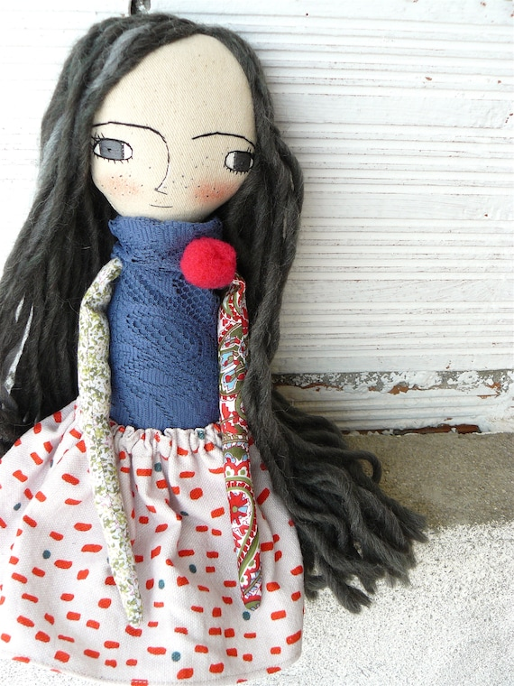 New more stylized model. Art doll in cotton. Wool hair. 16 inches.