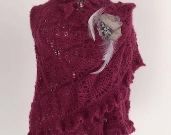 Red mohair/silk scarf, shawl