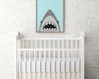 Shark art print - Blue and grey shark print - Boys room decor - Printable boy gift - Baby boy room decor - Shark illustration - shark mouth