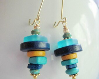 Blue Ceramic Earrings, Greek Beads, Long, Gold, Stacking Beads, Modern, Beach Jewelry, Ceramic Beads, Shades of Blue, Cool Color Earrings