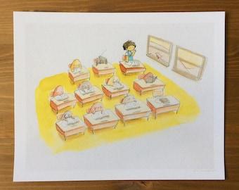 Classroom Watercolor Print 8x10 by Kendra Minadeo Nursery Art, Baby Art, School, Teacher