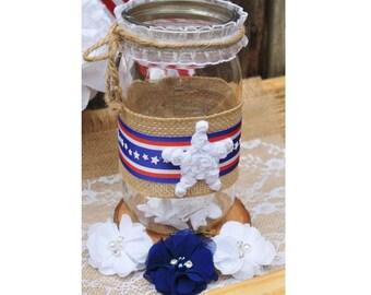 Patriotic Mason Jar, 4th of July Mason Jar, Independence Day Jar, Memorial Day Jar, Patriotic Centerpiece, Patriotic Decor, Americana Décor